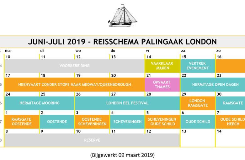 Reisschema en aanmelding bemanningsleden (09-03)
